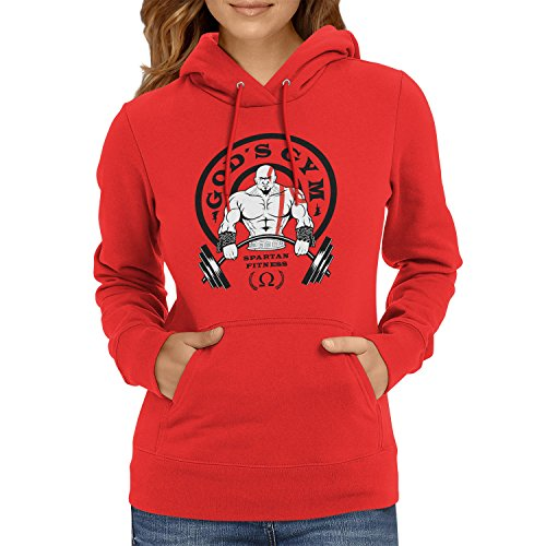 TEXLAB - God's Gym Spartan Gym - Damen Kapuzenpullover, Größe M, rot