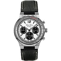 Ross Rino Kepheus Unisex Quarzuhr mit weißem Zifferblatt Analog-Anzeige und braunem Leder Armband
