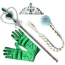 L-Peach Accesorios de Princesa Dress Up para Niñas Diadema Varita Mágica Collar Guantes Blanco para Cumpleaños Party Carnaval Fiesta Cosplay Halloween