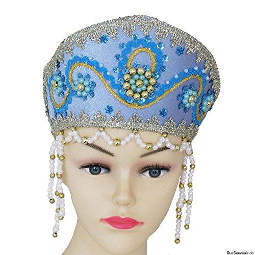 Kokoschnik, russischer Kopfschmuck 'Snegurotschka', blau