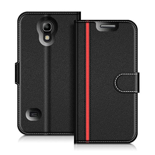 Coodio Samsung Galaxy S4 Mini Hülle Leder Lederhülle Ledertasche Wallet Handyhülle Tasche Schutzhülle mit Magnetverschluss / Kartenfächer für Samsung Galaxy S4 Mini, Schwarz/Rot