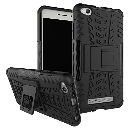 Ququcheng Kompatibel mit Xiaomi Redmi 4A Hülle,PC/TPU Doppelschicht Schutzhülle+Panzerglas Schutzfolie Hohe Qualität Case Hülle Cover mit Ständer Handyhülle Für Xiaomi Redmi 4A-Schwarz