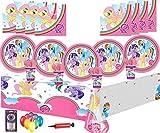 Mein kleines Pony Party Supplies Geburtstag Party Geschirr Dekorationen 16 Guest Pack -Platten, Tassen, Servietten, Tischdecken Kostenlose Ballons