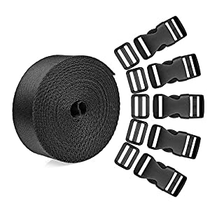 518HqHGYpfL. SS300  - WXJ13 15 Set 1 Inch Side Release Buckles Clips Plastic Strap Buckles with 1 Roll 5 Yards Nylon Webbing Strap, Quick Flat…