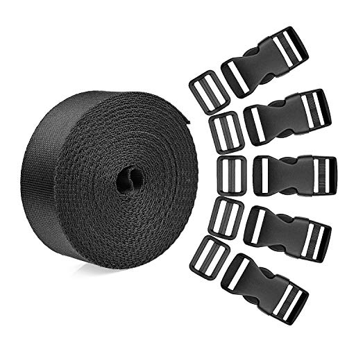 518HqHGYpfL. SS500  - BTNOW 15 Set Plastic 1 Inch Flat Side Release Buckles and Tri-Glide Slides with 1 Roll 5 Yards Nylon Webbing Straps for DIY Making Luggage Strap, Pet Collar, Backpack Repairing