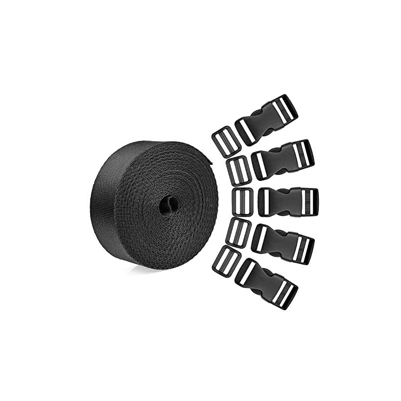 WXJ13 15 Set 1 Inch Side Release Buckles Clips Plastic Strap Buckles with 1 Roll 5 Yards Nylon Webbing Strap, Quick Flat Tri-Glide Slides Buckle for Sewing, DIY Making Luggage Strap Back