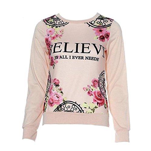 hoodies delle donne camicetta, stampa floreale manica lunga felpa sciolti (Rosa, L)