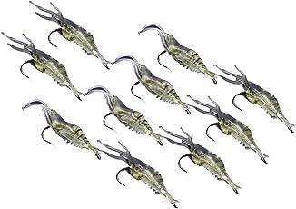 GOTOTOP 10pcs Shrimp Simulation Soft Prawn Lure Bait Hook Tackle Bass Fishing Lures Long Cast Fishing
