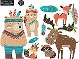 greenluup ökologische XL Wandsticker Tiere Waldtiere Fuchs Bär Federn Indianer Sterne Kinderzimmer Babyzimmer Baby Kinder Mädchen Junge (w2)