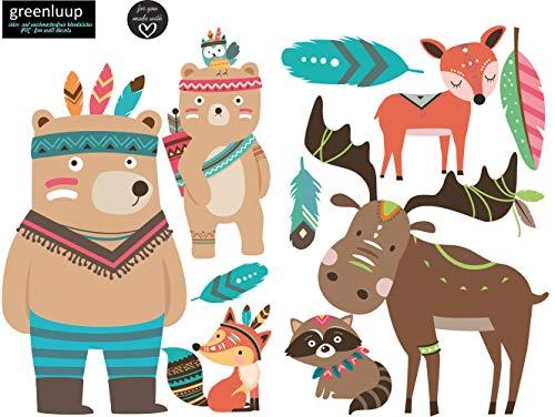 greenluup ökologische Wandsticker Tiere Waldtiere Fuchs Bär Federn Indianer Sterne Kinderzimmer Babyzimmer Baby Kinder Mädchen Junge (w2)