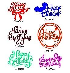 Idea Regalo - Fewxdsad - Fustelle in Metallo per Stencil con Scritta Happy Birthday, Fai da Te, Album di Ritagli, timbri di Carta, Biglietti, goffratura