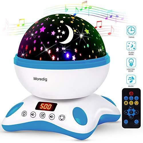 Moredig - Musique Projecteur Lampe Enfant, 360° Rotation + 8 Différents Couleurs Modes, Led Veilleuse Enfant pour Les Enfants, Cadeau D'anniversaire, Noël, Anniversaire - Bleu et Blanc