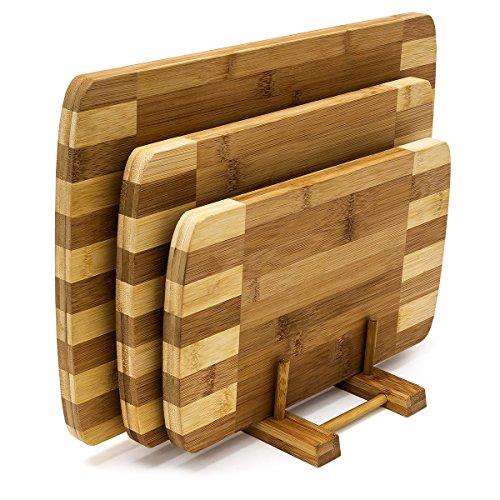 Relaxdays 10018877 Set di Taglieri Design con Base, Legno di Bambù, 39 X 25.5 X 1.5 cm, Marrone