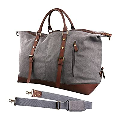 Oflamn Large Leather Trim Canvas Duffle Bag Holdall Weekender Travel Bag Overnight Carry On Bag