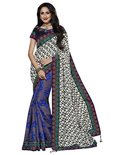 Mahotsav Art Silk Saree (8230_Off White, Blue)  available at amazon for Rs.1350