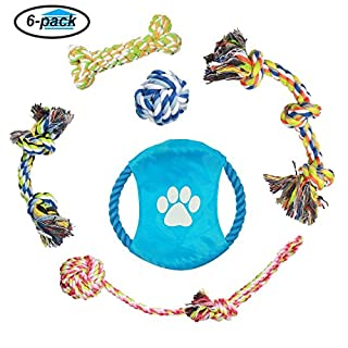 Dog Rope Toys,ADOGO Durable Chew Toys for Small and Medium Dogs - 6 Pack Gift Set