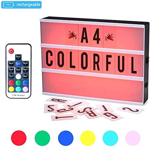 Leuchtkasten,CrazyFire A4 LED Lichtbox,Farbwechsel Lichtkasten,Leuchte Box,189 Buchstaben Symbolen mit Fernbedienung,Nachladbare Batterie,Überraschungsgeschenk und Perfekte Urlaub Dekoration(7 Farben)
