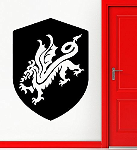 GGWW Shield Wall Decal Dragon Coat Of Arms Medieval Knight Stickers Vinyl (I288)