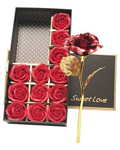 Rosa chapada en oro de 24 quilates con 12 pimpollos en caja para regalo del día de San Valentín, de Home Comfort and Accessories Ltd