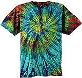 Guru-Shop Batik T-Shirt, Herren Kurzarm Tie Dye Shirt, Türkis Spirale, Baumwolle, Size:M, Rundhals Ausschnitt Alternative Bekleidung