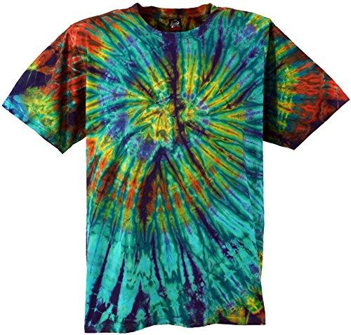 Tie-dye-türkis (Guru-Shop Batik T-Shirt, Herren Kurzarm Tie Dye Shirt, Türkis Spirale, Baumwolle, Size:M, Rundhals Ausschnitt Alternative Bekleidung)