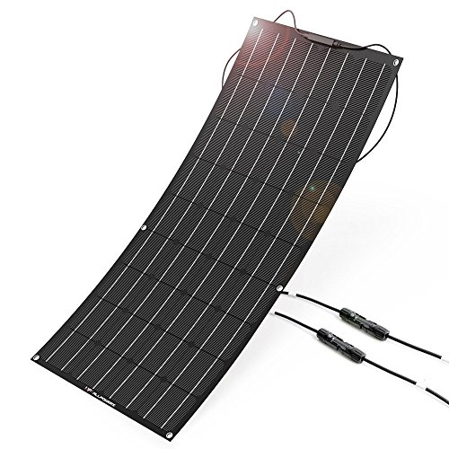 ALLPOWERS 100W 18V 12V Flexibles Solarpanel Ladegerät (mit ETFE Schicht, MC4 Stecker) Semi biegsames wasserfestes Solar Ladegerät für RV, Boot, Kabine, Zelt, Auto