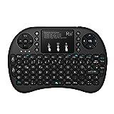 Rii i8+ Mini Wireless 2.4G Hintergrundbeleuchtung Touchpad Tastatur mit Maus für PC/Mac/Android, (Schwarz)