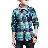 ZHUANNIAN Boys Checks Long Sleeve Shirts (11-12, Green)