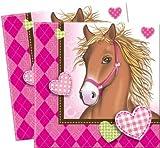 20 Papierservietten Motiv Pferde und Herzen, rosa Kindergeburtstag