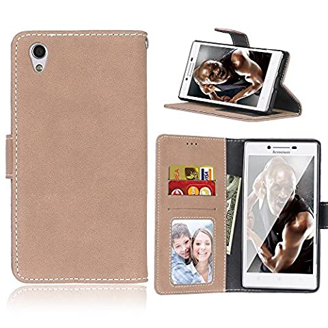 Lenovo P70 / P70T Case,BONROY® Lenovo P70 / P70T Retro Matte Leather PU Phone Holster Case, Flip Folio Book Case, Wallet Cover with Stand Function, Card Slots Money Pouch Protective Leather Wallet Case for Lenovo P70 / P70T