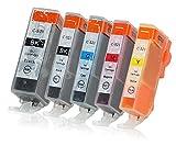 5 Druckerpatronen mit Chip und Füllstandsanzeige kompatibel zu Canon PGI-520/CLI-521 passend für Canon Pixma IP-3600 IP-4600 IP-4700 MP-540 MP-550 MP-560 MP-620 MP-630 MP-640 MX-860 MX-870