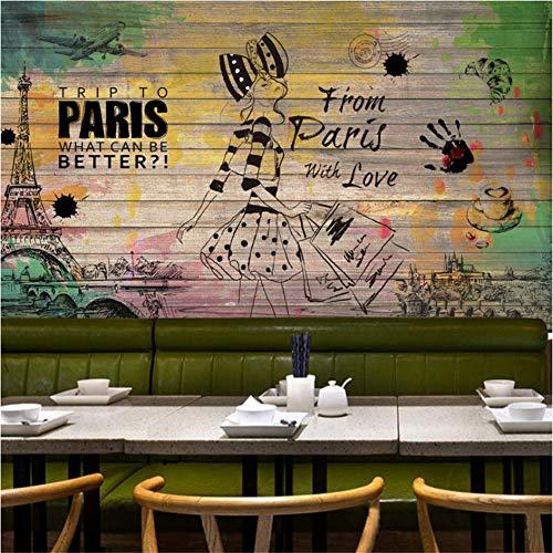 Guyuell Benutzerdefinierte 3D Tapete Retro Hocker Nostalgische Mode Beauty Hintergrund Wandbild Restaurant Bar Benutzerdefinierte Tapete-350Cmx245Cm