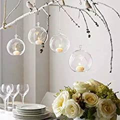 Idea Regalo - 8PCS/12PCS 80 mm appendere portacandele in vetro globi terrario wedding portacandele candeliere, Vetro, transparent (8Pcs/set)