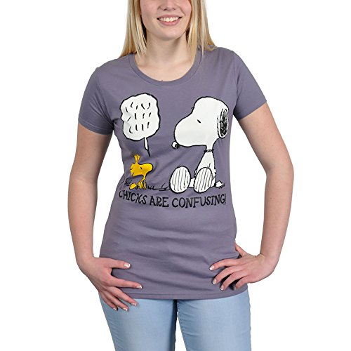 original The Peanuts SNOOPY & WOODSTOCK Damen Girl T-Shirt CHICKS ARE... lavendel IOOO Gr. XS-L (S) - Snoopy Chicks