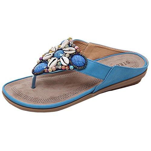 WWricotta Women Flat Shoes Bead Bohemia Leisure Lady Slippe Sandals Peep-Toe Outdoor Shoes