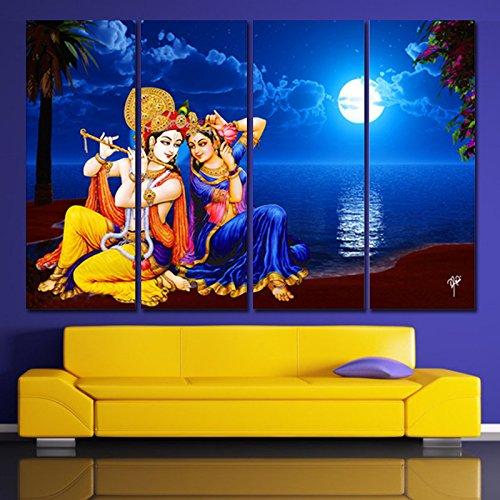 Ray Décor's(24 inch x 36 inch) Multiple Sparkling Radha-Krishna Wall Painting, Krishna...