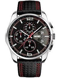 Mode Hommes Sport 5ATM étanche calendrier Chronographe à quartz Montres Montre Rouge