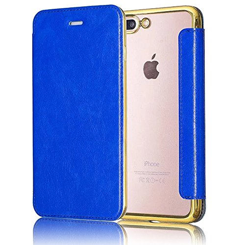 iPhone 7 Cover, iPhone 7 Custodia (4.7inch), Bonice Creativo [Shock-Absorption] [Anti Scratch] Premium Ultra Thin Portafoglio Trasparente Placcatura TPU Case Cover + PC Pelle Flip Case Cover - argento model 04