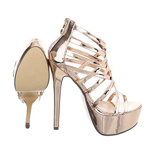 Ital-Design High Heel Sandaletten Damenschuhe High Heel Sandaletten Pfennig-/Stilettoabsatz High Heels Reißverschluss Sandalen & Sandaletten Gold Rosa XK-0035