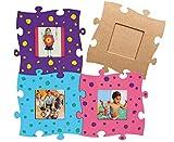Betzold 42293 - Holzpuzzle-Bilderrahmen, 3 Stück MDF blanko Selbstgestalten Zusammenfügen Kinder Bilder Puzzle