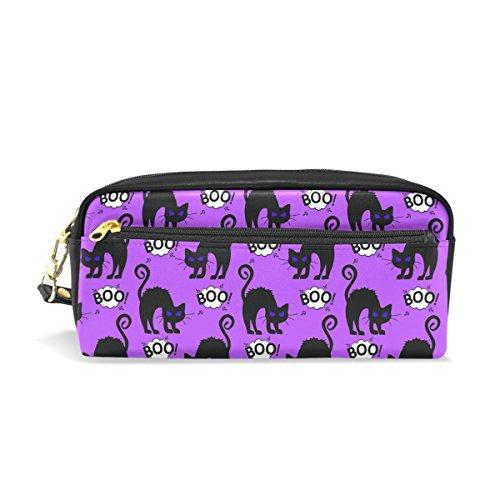 ahomy Halloween schwarze Katze Bleistift Pen Fällen Doppelreißverschluss Große Make-up Kosmetik Stationery Tasche für Tasche für Mädchen jungen Frauen