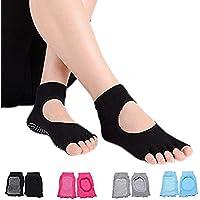 Hubanbei – 4 pares de calcetines antideslizantes de algodón sin dedos para mujer, transpiración ideal, para yoga, pilates, danza y fitness, 4 colores, Eine Größe Passt am Meisten