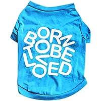 Crewell Spring Fall - Camiseta de Algodón con Letras Impresas para Cachorros, Azul, Large