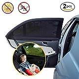 PULNDA Parasoles Coche ventana lateral  protección contra rayos UV para niños,bebés y Mascotas,Fácil instalación, Pack de 2 unidades 49.2*21