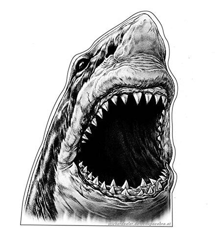 Aufkleber Weißer Hai schwarz/weiß Sticker Tiere Meer Autoaufkleber Motorrad Tuning ca. 12x8 cm Ozean Raubfisch Monster Shark Fische Angeln Fischen Bootsbeschriftung