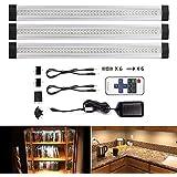 LEBRIGHT LED bajo mueble regulable,modos de parpadear, control remoto LED, 30cm, 4W, 1100lm,Accesorios incluidos para Armario Vitrina Encimera (blanco cálido 3000K)