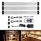 LEBRIGHT LED sottopensile luce calda, 3pcs dimmerabile lampade LED da 4W per sottopensile e armadio lunghe 30cm,1100lm, Luce bianca calda, Kit completo (bianco caldo 3000K)