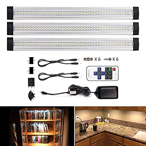 LEBRIGHT Under Cabinet Lighting 12-inch Dimmable LED Under Cabinet Light Ultra Thin Under Counter Lighting with Remote Control , 3pcs 4W Panels kit, Total of 12W,1100LM,LED Closet Lighting(3000K Warm