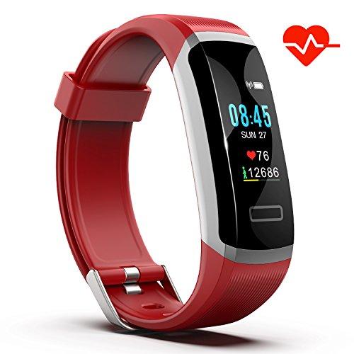 Akuti Fitness Armband mit Pulsmesser, IP67 Wasserdicht Fitness Tracker Pulsuhren mit 0,96 Zoll Farbbildschirm/Kalorie Distanz Schrittzähler/Schlafmonitor für iPhone Android Handy, Rot