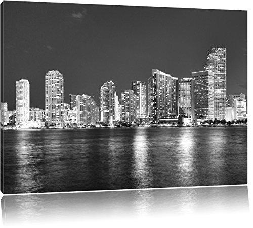 Schöne Nacht-Szene Skyline von Miami Florida Kunst B&W, Format: 120x80 auf Leinwand, XXL riesige Bilder fertig gerahmt mit Keilrahmen, Kunstdruck auf Wandbild mit Rahmen, günstiger als Gemälde oder Ölbild, kein Poster oder Plakat